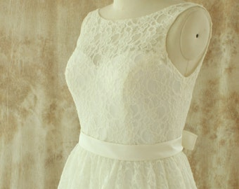 2013 Outdoor/ Destination wedding dress, Vintage lace wedding dress with removeable sash