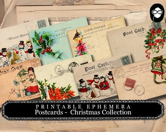Vintage Christmas Postcards - Christmas Set # 1 - 2 Page Instant Download - christmas clip art, digital journal cards