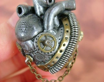 CHOOSE AN Industrial Heart Necklace - Over 110 Designs - Anatomically Correct Industrial Heart Necklace - Industrial Heart Collection