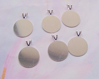 Pendant blanks etsy 8 flat disk pendant blanks with bail mozeypictures Choice Image