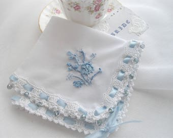 Something Blue Wedding Handkerchief Bouquet Wrap Silk Ribbon Hand Embroidered Beads Blue Thread Crocheted Edge Designed by handcraftusa Etsy