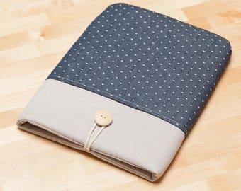 Kindle sleeve /  kindle case / Kindle paperwhite sleeve / kobo Aura sleeve - Blue dots in grey -
