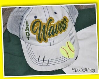 Softball Cap, Distressed Trucker Cap, Bling Baseball Cap, Softball Mom Hat, Ballpark Cap, Customized Baseball Cap, Personalized Cap