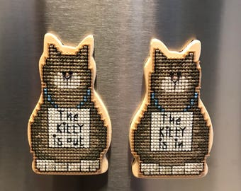 Kitty In/ Kitty Out Cross Stitch Magnet Set