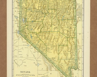 Vintage map of Nevada from 1943 Antique 1940s