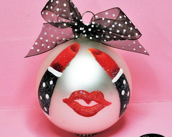 Red Hot Lips Ornament - Hand Painted Glass Ball Ornament - Baby's Birth or Birthday or Christmas Tree Ornament - Can Be Personalized