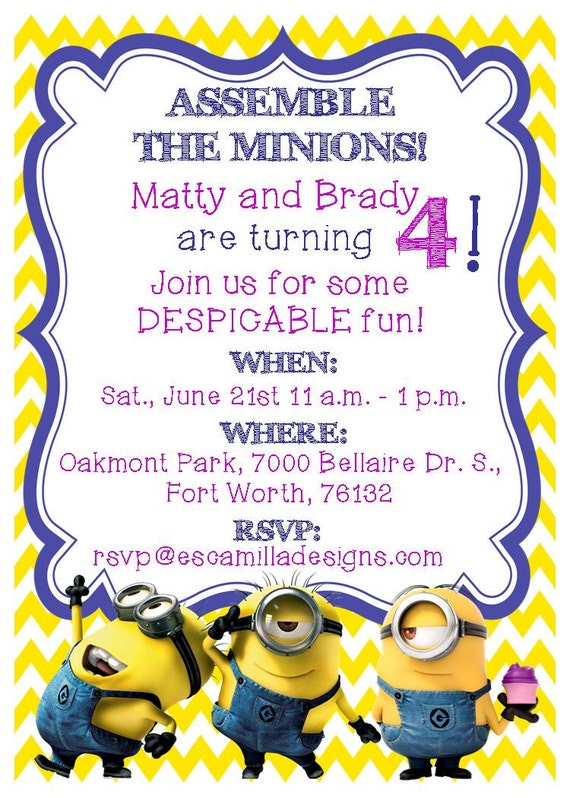 Minions birthday party invitation twins siblings filmwisefo Choice Image