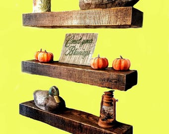 FLOATING SHELVES, Shelf, Floating, Easy, Fast Mount, Home Decor, Cabin, Lodge, Hunting, Rustic, Farmhouse, Country, Hunting, Beam, Wood