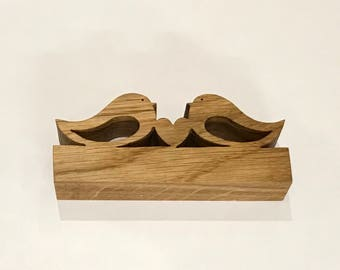 Love birds, wooden birds, valentines gift, anniversary present, 5th wedding anniversary wooden animals