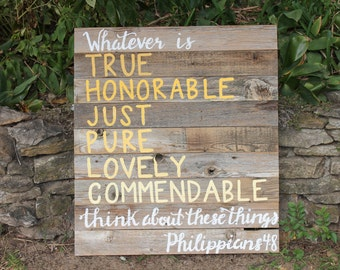 Free Shipping! Gift for mom, Mother's Day, Farmhouse, Gift for Home, Old Wood Sign,  Philippians 4:8, Rustic Home Decor Ideas