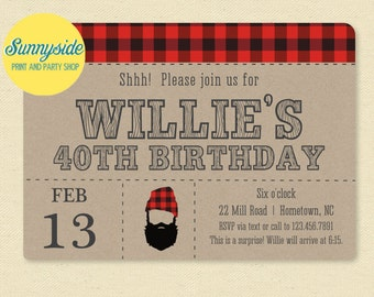 Printable Beard Birthday Invitation - Manly Surprise Hipster Party Invite 30th 40th 50th // Printed or printable invitations // lumberjack