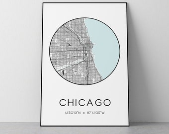 Chicago City Map Print | Chicago poster, Chicago map art, Chicago wall art print