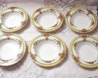 SIX Seville Myott Art Deco Dessert Bowls