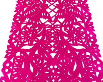 Papel picado table runner, hot pink synthetic fabric, Mexican fiesta decorations, party supplies, table topper, talavera lace design