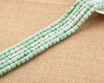 One Strand Green Spotted 7*7MM Cylinder Tube Beads