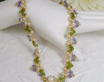 Woven Pearl Necklace in Tanzanite and Green Gifts for Her