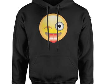 Color Emoticon - Tongue Out Smile Adult Hoodie Sweatshirt