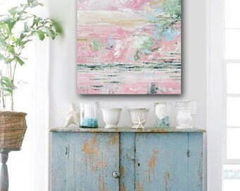 GICLEE PRINT Large Art Abstract Painting Pink White Acrylic Painting Home Decor Wall Art Summer Coastal Canvas Art Expressionist - Christine