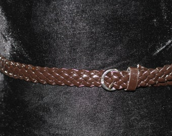 90's Brown Genuine Leather Woven Belt