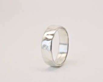 Molten Silver Ring - Organic Texture - Recycled Sterling Silver  - Alternative Wedding Band - Men's Women's - Unisex