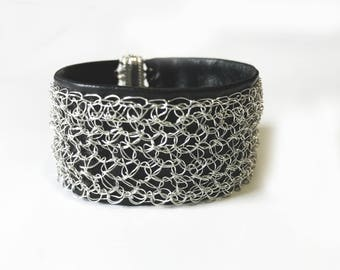 Crocheted Silver Wire and Black Leather Cuff Bracelet, Crochet Wire Bracelet, Leather Cuff, Black Leather Cuff, Crochet bracelet, Cuff