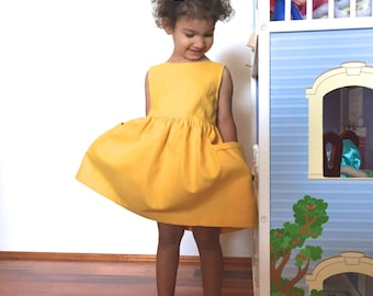 Yellow Toddler Dress, Birthday Outfit, Dress with Pockets, Girls Dress, Girl Dress Pockets, Party Dress, Linen Dress, Linen Dress Wedding