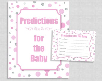 Predictions for the Baby Shower Game Sign & Cards, Pink and Silver Dots, Guess Baby Weight, Baby Stats, Girl, INSTANT PRINTABLE