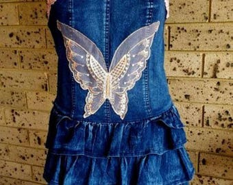 Clearance Strapless Denim Dress with Tiered Skirt size 12 AU, Denim Dress,