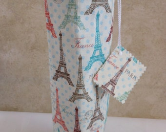 wine tote Paris Eiffel Tower theme, single bottle carrier, going away party gift, birthday gift for him or her, liquor party carrier