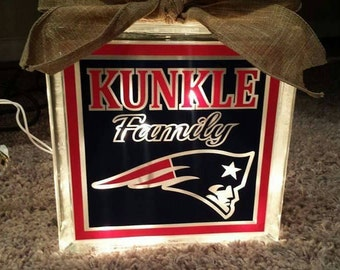 Personalized 8x8 Patriots lighted glass block