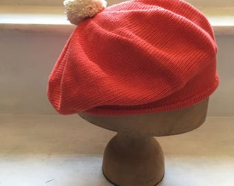 Red Cotton Beret, Scarlet Beret, Women's Red Beret, Women's Red Tam, Pompom Beret, Vegan Hat, Red Cotton Tam, Women's Scarlet Hat