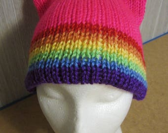 Neon RAINBOW Band Pride PussyHat Cat Beanie Women's March PUSSY HAT Knit Kitty Ears 3 Sizes, -- Charity Donation & Free Shipping UsA