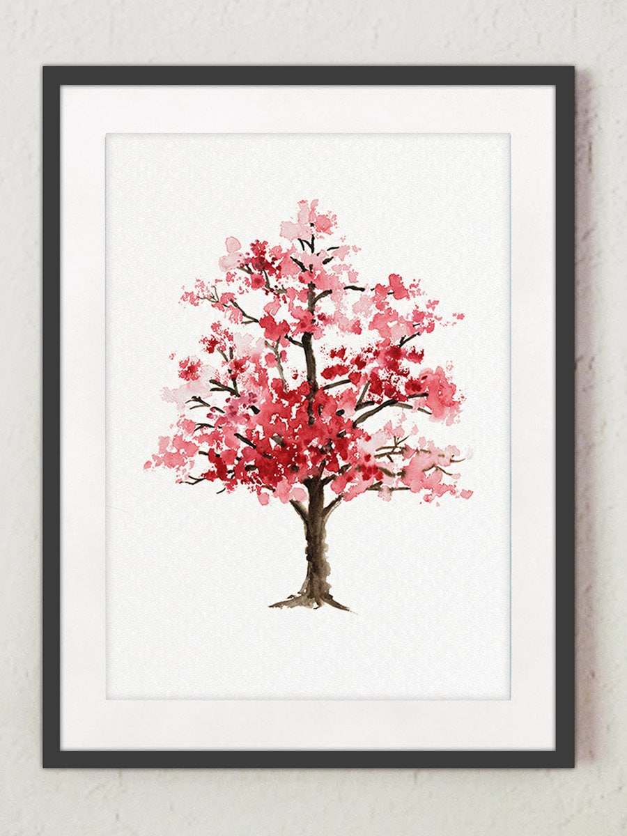 Cherry Blossom Tree Watercolor Painting Floral Giclee Wall