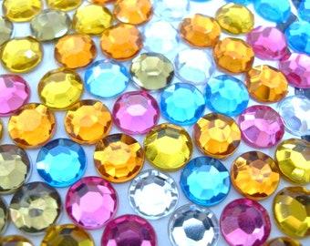100x 8mm Multicolour Rhinestone Round Cabochons Jewel colours