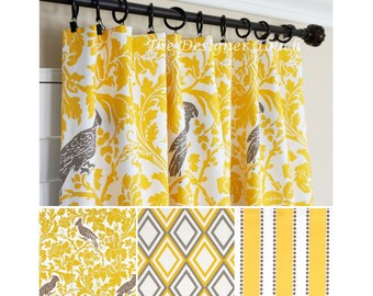 Yellow Window Curtains.Yellow Brown Window Treatment.Yellow Curtain Panels.Yellow Nursery Curtain.Yellow Drapes.Kitchen Curtain