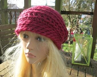 Crochet beret crochet hat red Hanni