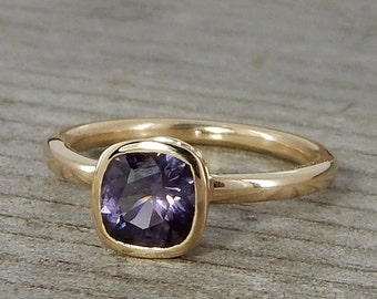 Purple Spinel Ring, Recycled 14k Yellow Gold, Hybrid Peekaboo Bezel Setting, Square Cushion, Ethically Sourced Gem, Ready to ship, size 6.25