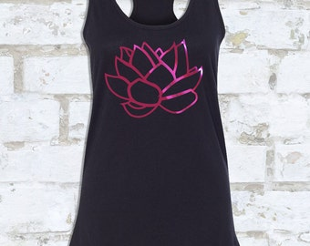 LOTUS TANK FOILED in Metallic Pink or Silver | Metallic Yoga Tank