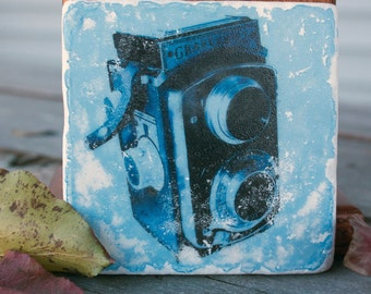 VINTAGE CAMERA Coaster, Graflex, Marble Tile, 4x4