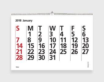 2018 Calendar, Printable Wall Calendar, 2018 Typography Calendar, Minimalist Calendar, A4, US Letter. INSTANT DOWNLOAD!