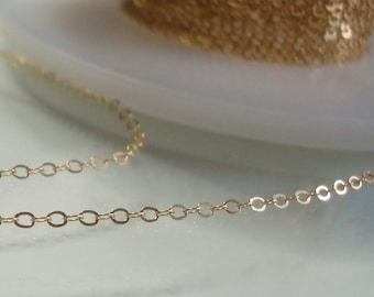 3 ft, 1.3x1.8mm, 14K Gold Filled Hammered Cable Chain
