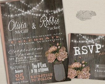 Rustic Printable Wedding Invitation, Mason Jar Wedding Invitation, Country Barn Wedding Invite, Spring Wedding, String Lights, Peach Peonies