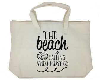 """The Beach is Calling Tote: 100% Cotton Canvas 22""""W x 15""""L x 5""""D with Inner Hanging Zip Pocket. Gift for her, mom, friend, funny."""