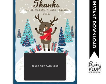 Teacher Gift Card Holder / Teacher Thank You Card / Christmas Gift Card Holder / Teacher Appreciation Gift / Thanks for Being a Deer Teacher