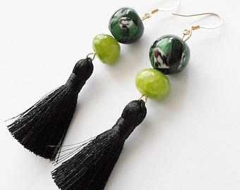 Black and Greens Tassel Earrings