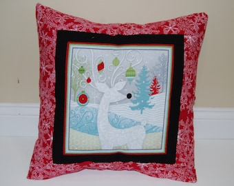 Christmas Pillow, Holiday Decor, Reindeer, Snowflake, Accent Pillow