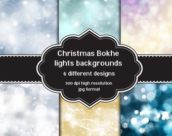 INSTANT DOWNLOAD - Collection of digital Christmas bokhe lights backgrounds with 6 different designs