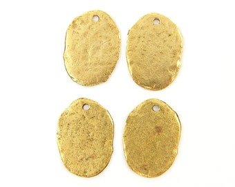Rustic Gold Charms, Gold Coin Charms, Boho Tribal Pendant Jewelry Supplies |Q2-5|4