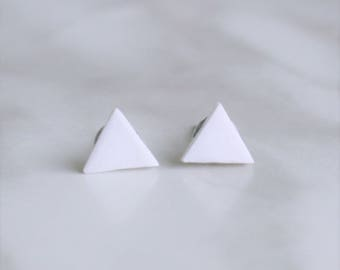 White Triangle Spring Stud Earrings - Simple - Hypoallergenic Post Earrings - Surgical Steel - 8mm  - Geometric Every Day Earrings