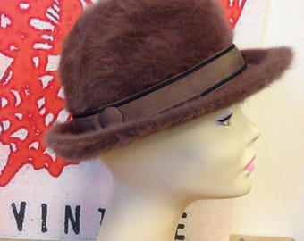 Vintage rabbit fur blend winter hat/ fedora by Debenhams